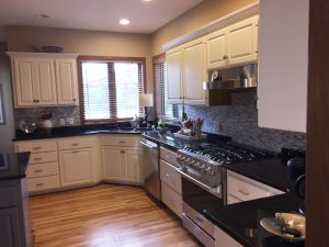 residential kitchen white cabinets tile backsplash